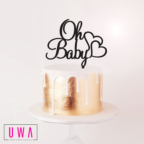 Oh Baby with Hearts - Cake Topper
