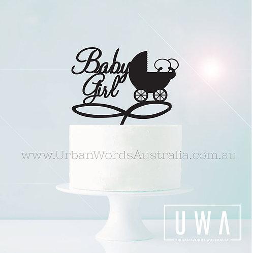Baby Girl Pram - Cake Topper