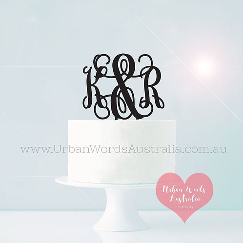 Monogram Letters Joined with & - Cake Topper