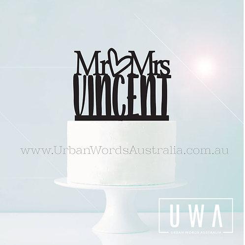 Mr heart Mrs Surname - Cake Topper