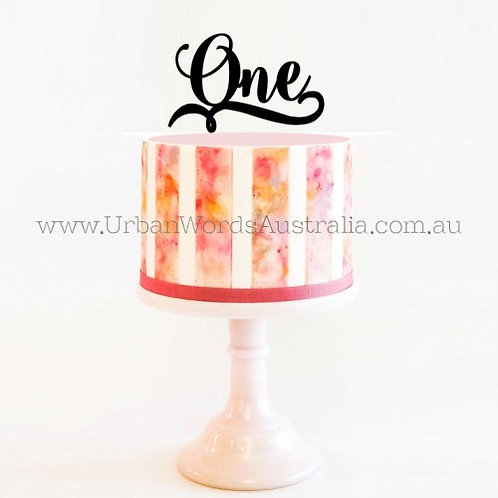 One with Swirl - Cake Topper