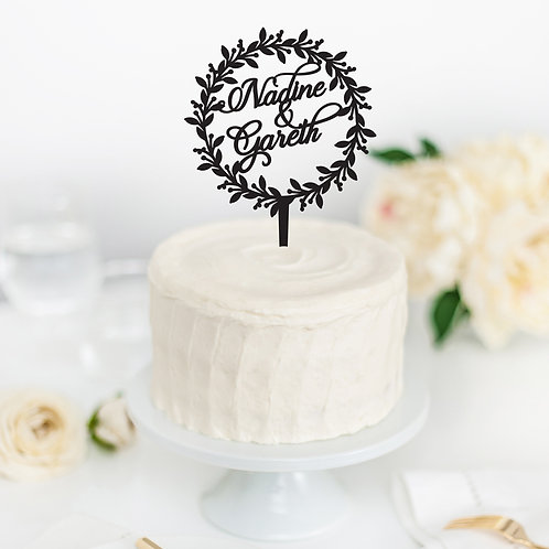 Names in Wreath - Cake Topper