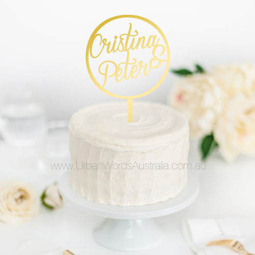 Engagement cake toppers shipped in 24hrs urban words australia personalised names in circle cake topper junglespirit Choice Image