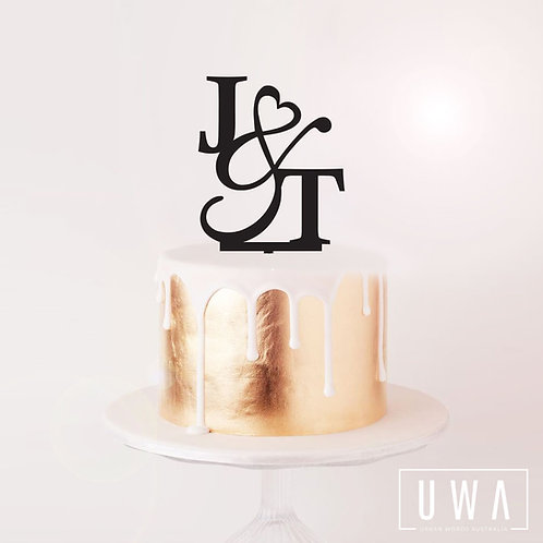 Initials with Heart Ampersand - Cake Topper