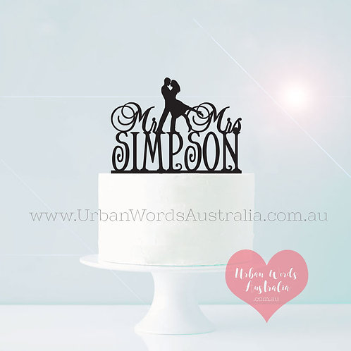 Dancing Mr & Mrs Surname - Cake Topper