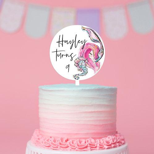 Mermaid - Personalised - Birthday Cake Topper