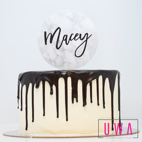 Marble Name - Personalised Cake Topper