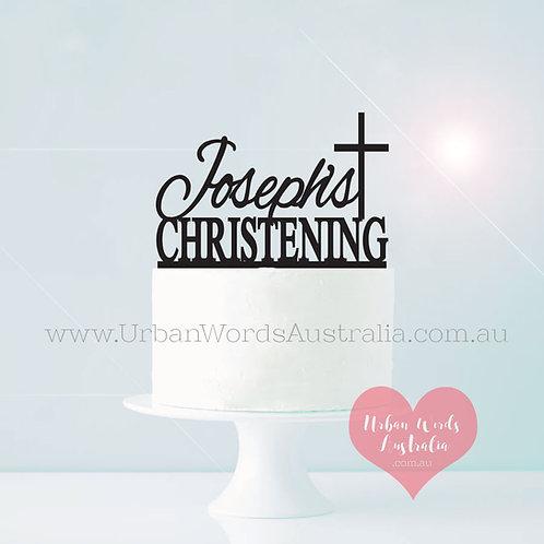 Scripted Name + Cross - Christening Cake Topper