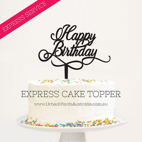 Express - Happy Birthday Swirl Script