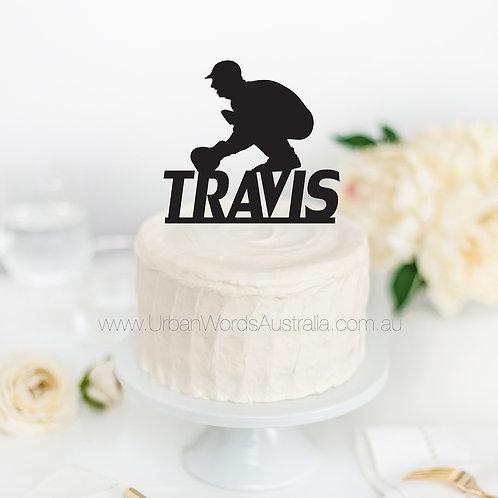 Cricket Silhouette Custom Name - Cake Topper