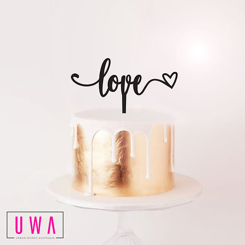 Script Love with Heart - Cake Topper
