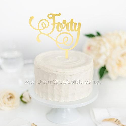 Forty Swirl - Cake Topper