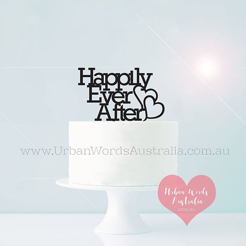 Happily Ever After with Hearts - Cake Topper