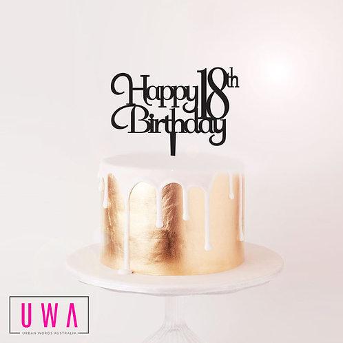 Happy 18th Birthday - Cake Topper