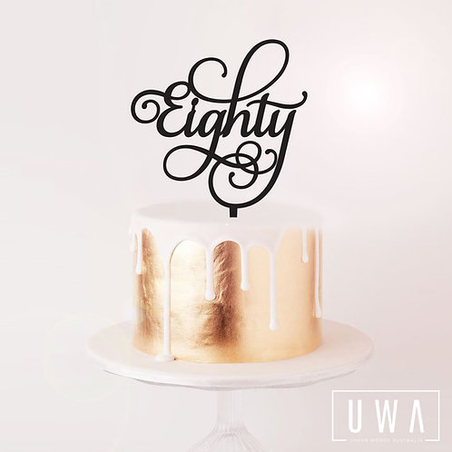 Eighty Swirl - Cake Topper