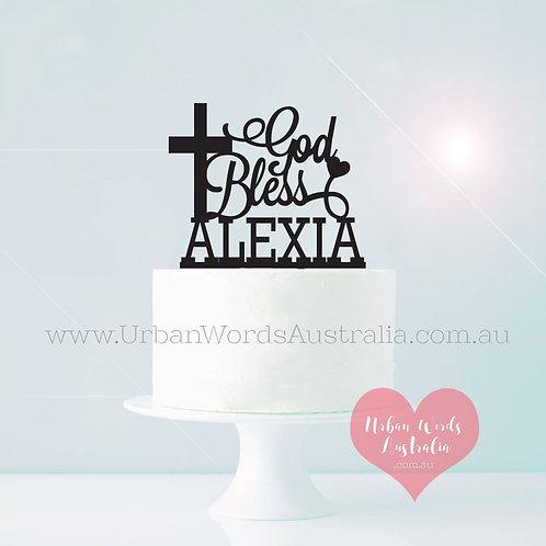 God Bless + Custom Name - Cake Topper