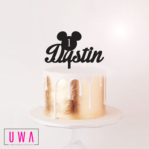Custom Name Mickey Age - Cake Topper