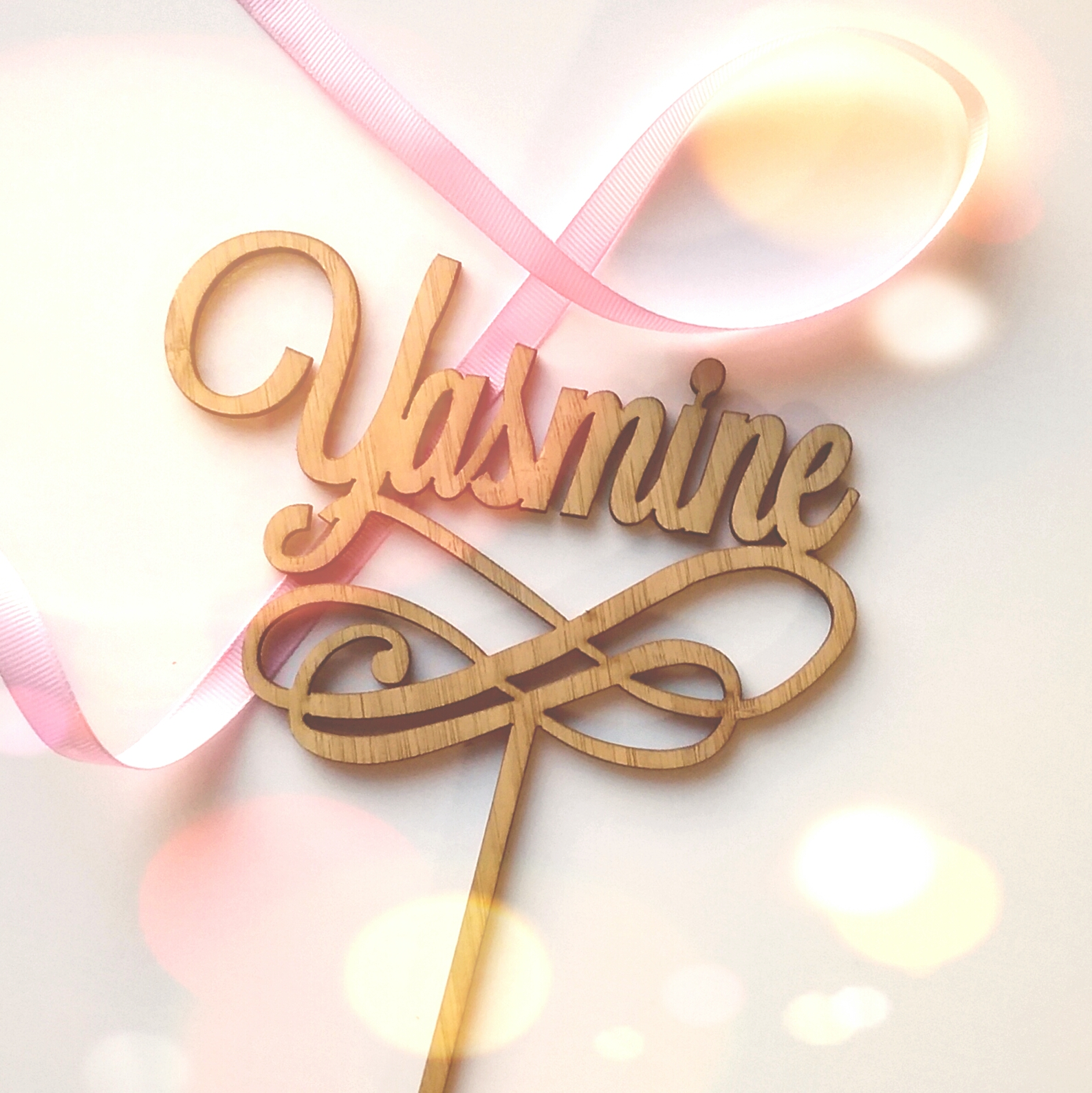 Custom name with Swirl Cake Topper