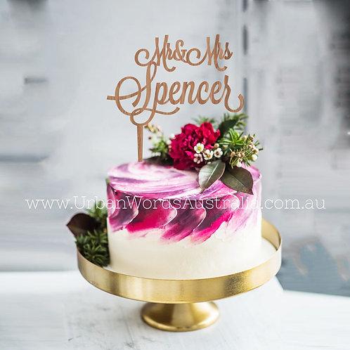 Mr & Mrs Surname - Cake Topper