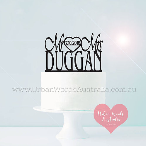 Mr & Mrs Surname with Date Inside Heart - Cake Topper