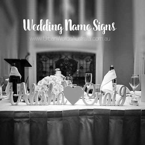 Name Heart Name - White Wedding Sign