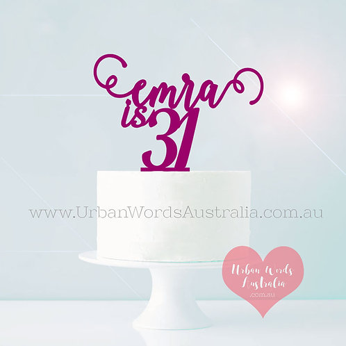Name is Age Scripted - Cake Topper