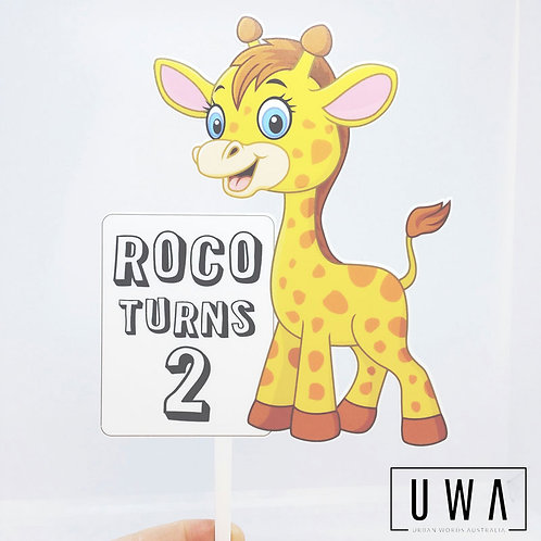 Cute Giraffe - Personalised Cake Topper