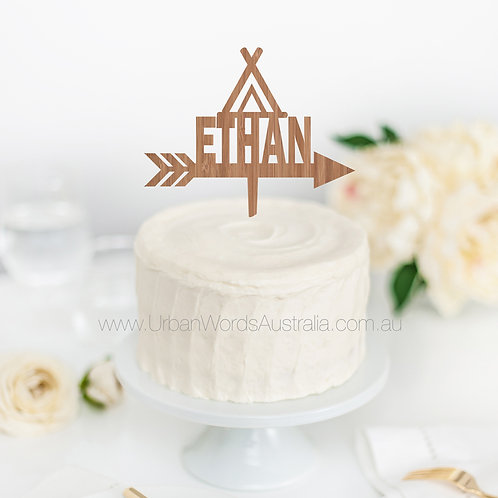 Teepee Custom Name - Cake Topper