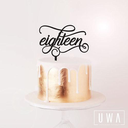 eighteen - Cake Topper