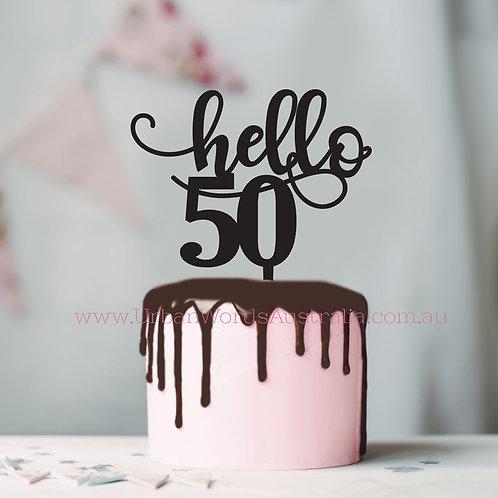 Hello 50 - Cake Topper