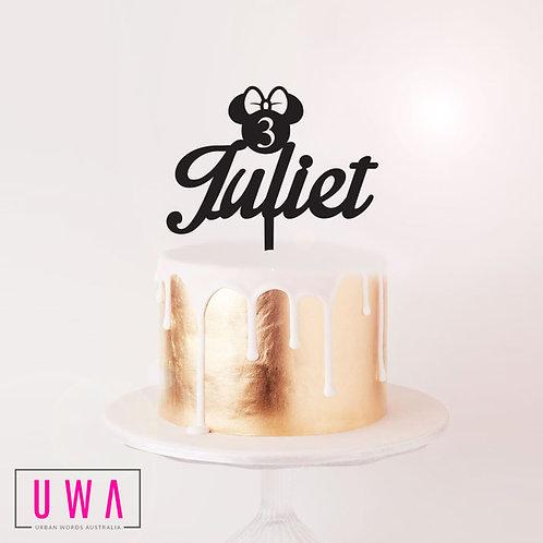 Custom Name Minnie Age - Cake Topper