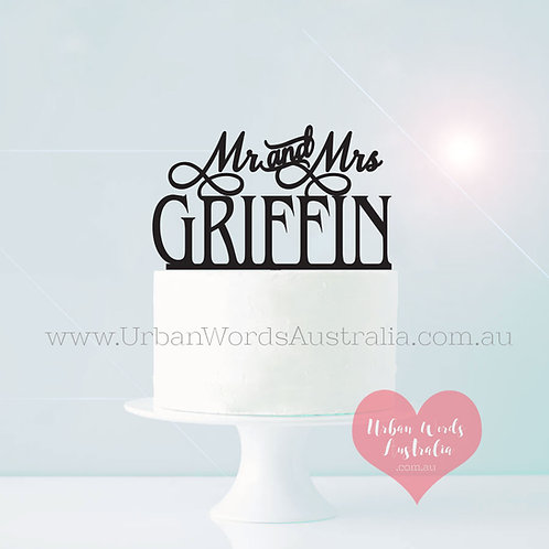 Mr and Mrs Surname - Cake Topper