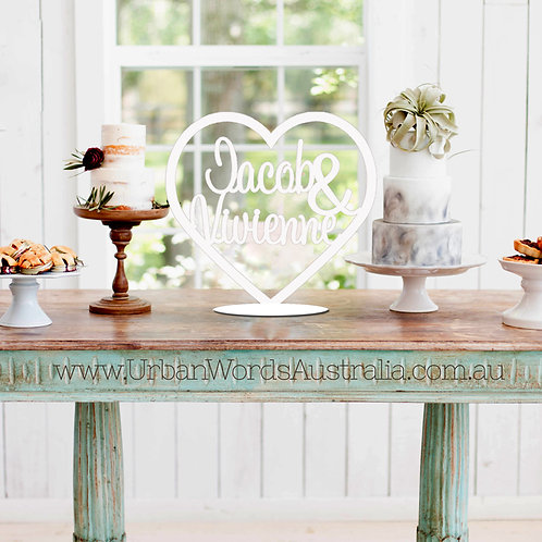 Names in Heart - White Wedding Sign