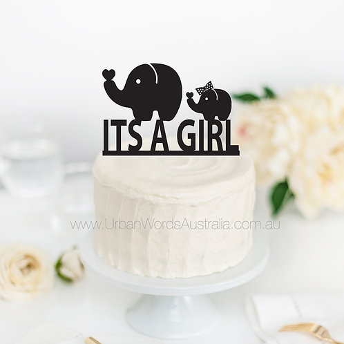 Its a Girl - Elephants - Cake Topper