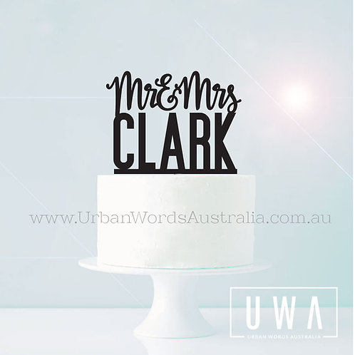 Mr & Mrs Surname - Cake Topper