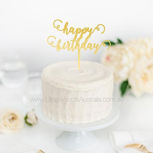 Script happy birthday - Cake Topper
