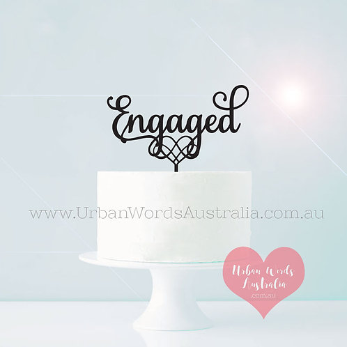 Engaged with Heart - Cake Topper