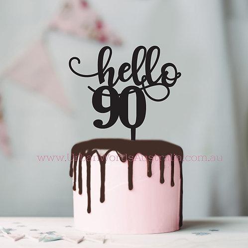 Hello 90 - Cake Topper