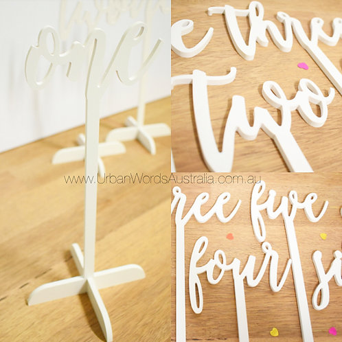 Scripted White Table Number Set (1-10)