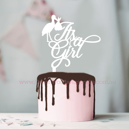 Its a Girl Stork - Cake Topper