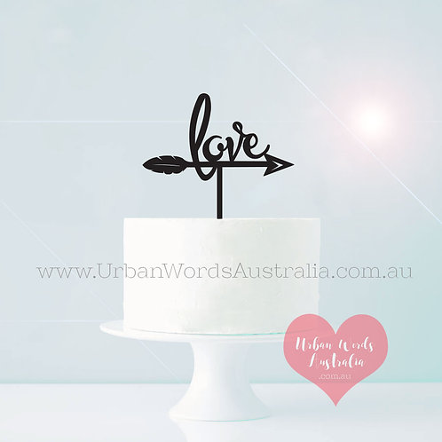 Feather Love - Cake Topper