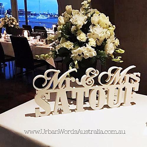 Stacked Mr & Mrs Surname Freestanding Wedding Sign - White