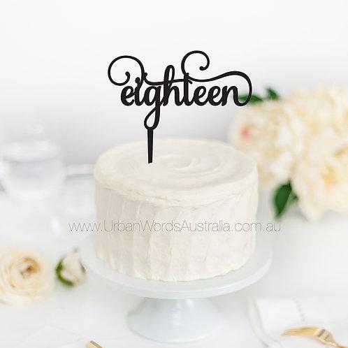 eighteen scripted - Cake Topper