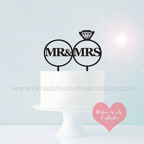 Mr & Mrs in Rings - Cake Topper
