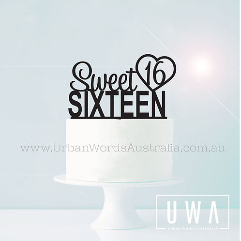 Sweet 16 Sixteen - Cake Topper