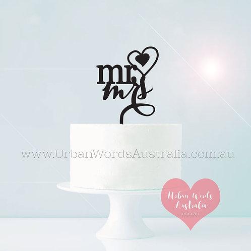 Mr Heart Mrs - Cake Topper