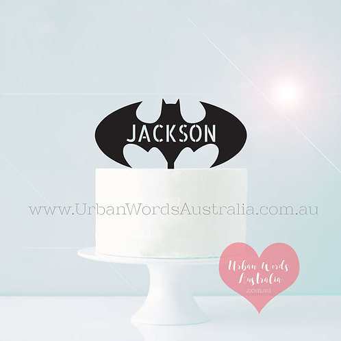 Batman + Custom Name - Cake Topper