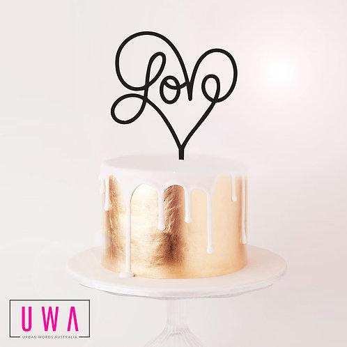Swirl Love in Heart - Cake Topper