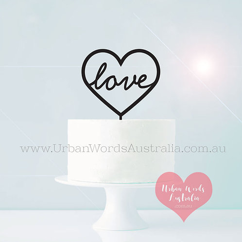 Love in Heart - Cake Topper