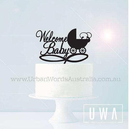 Welcome Baby Pram - Cake Topper